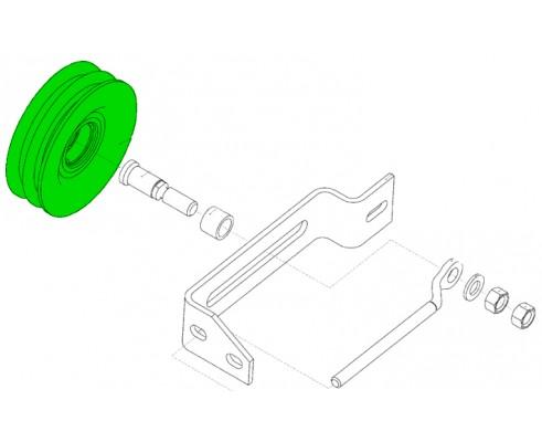 Шкив натяжной привода очистки 2-х ручьевой d140 в сборе с подшипником