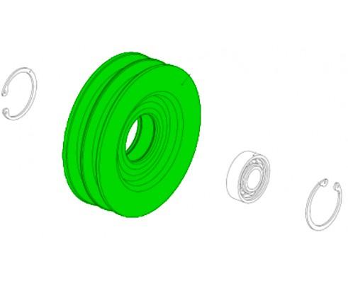 Шкив натяжной привода очистки 2-х ручьевой d140 (10.01.00.740)