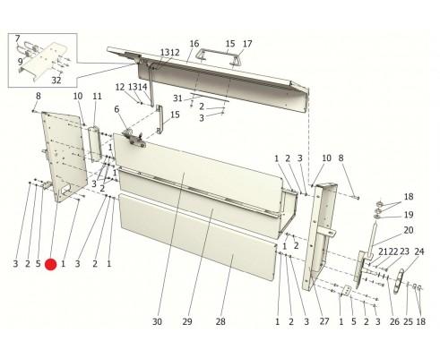 Боковина левая (ППР-120А с нов. щитами) - ППР 122.05.040